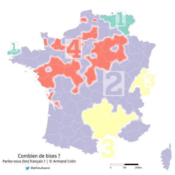 Carte du nombre de bises pratiquées en France selon une étude menée par Mathieu Avanzi.